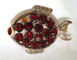 Sterling Gilt Rhinestone Fish Pin