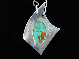 Sterling Handmade Modernist Pendant with American Turquoise on Handmade Chain