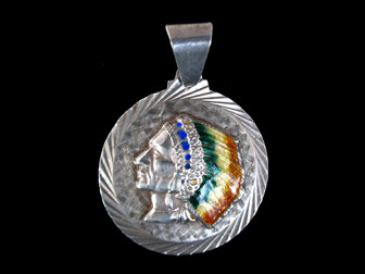Sterling Native American Head Pendant