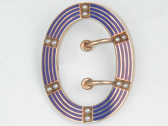 Victorian Enameled Buckle Brooch