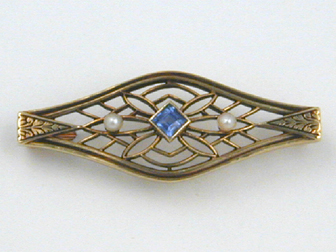 Yellow and Gold Filigree Sapphire Pin