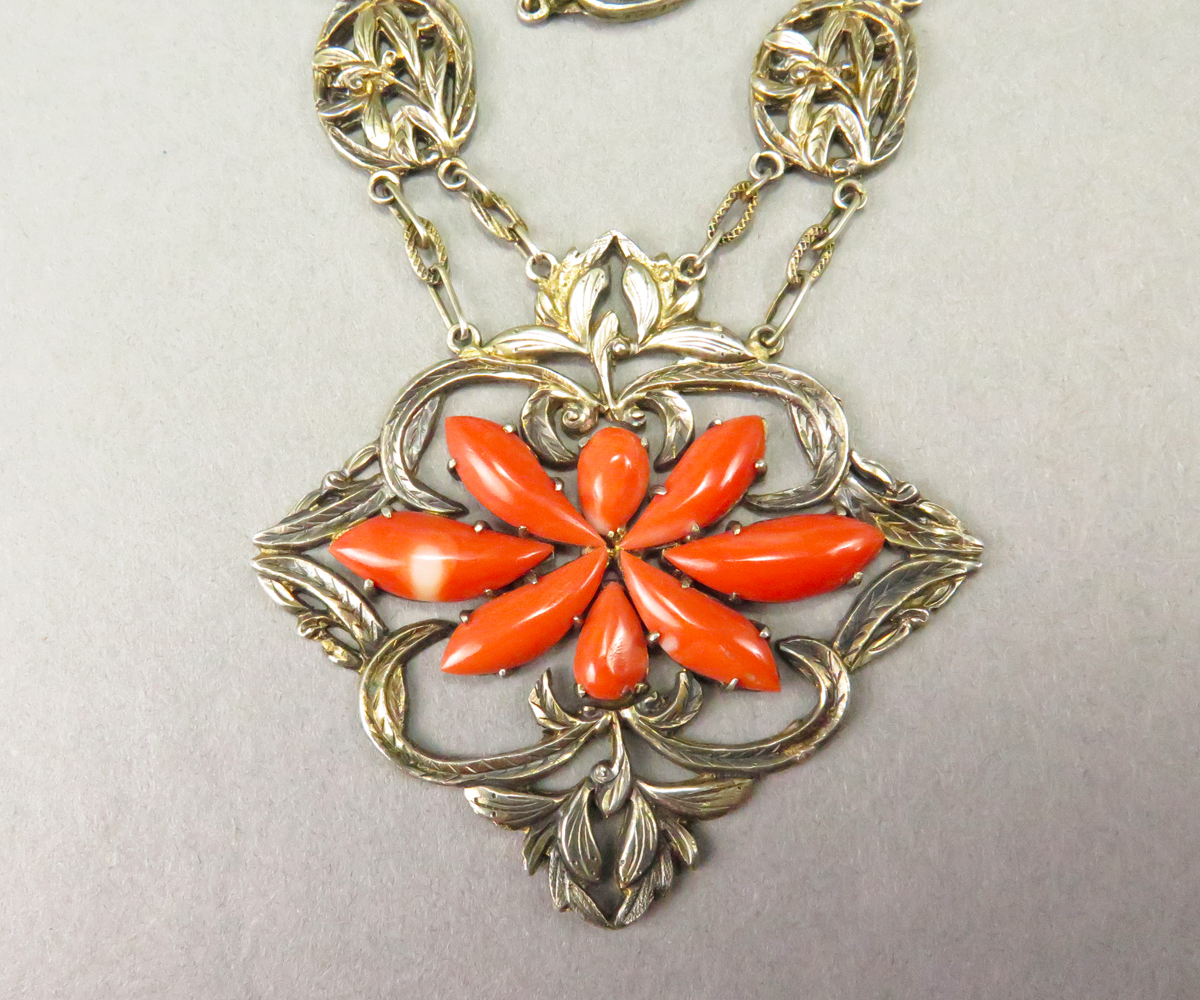14314C1 Vermeil Chinese Coral Necklace