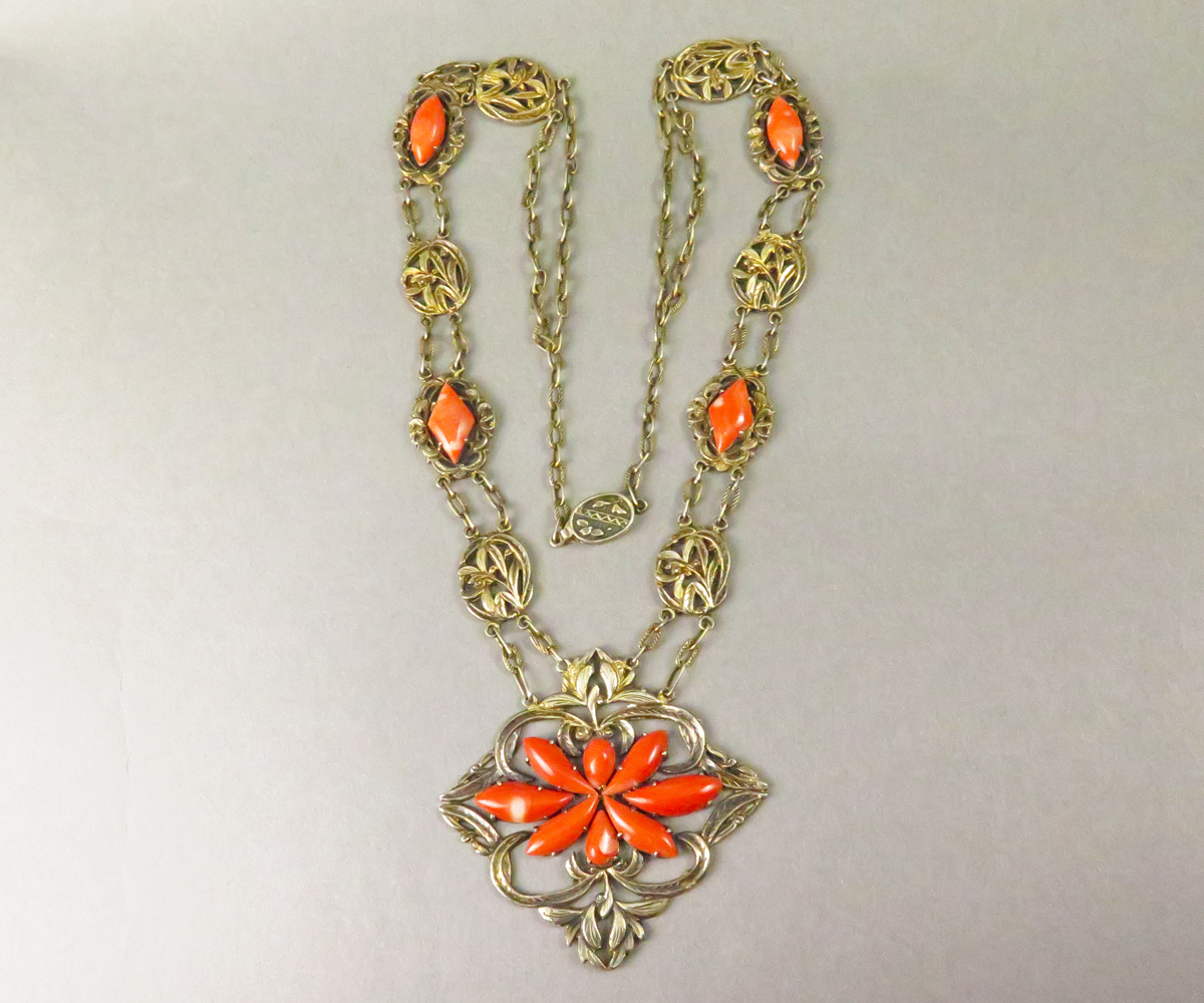 14314F Vermeil Chinese Coral Necklace