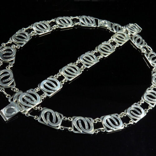 830Silver Modernist Horseshoe Bracelet and Necklace by N.E. From