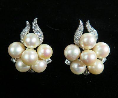 Platinum Pearl and Diamond Earrings