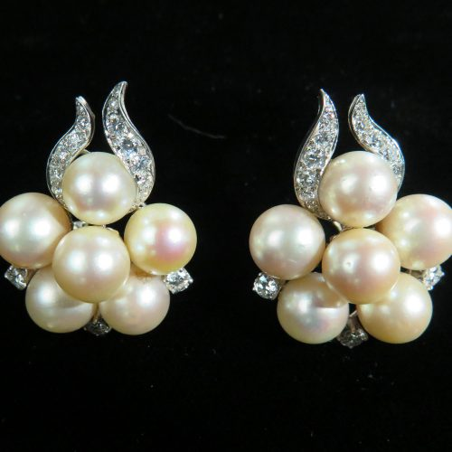 Platinum Pearl and Diamond Earrings