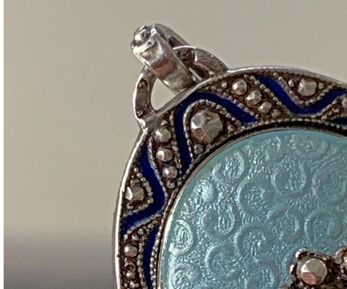 Silver Guillochet Enamel Pendant