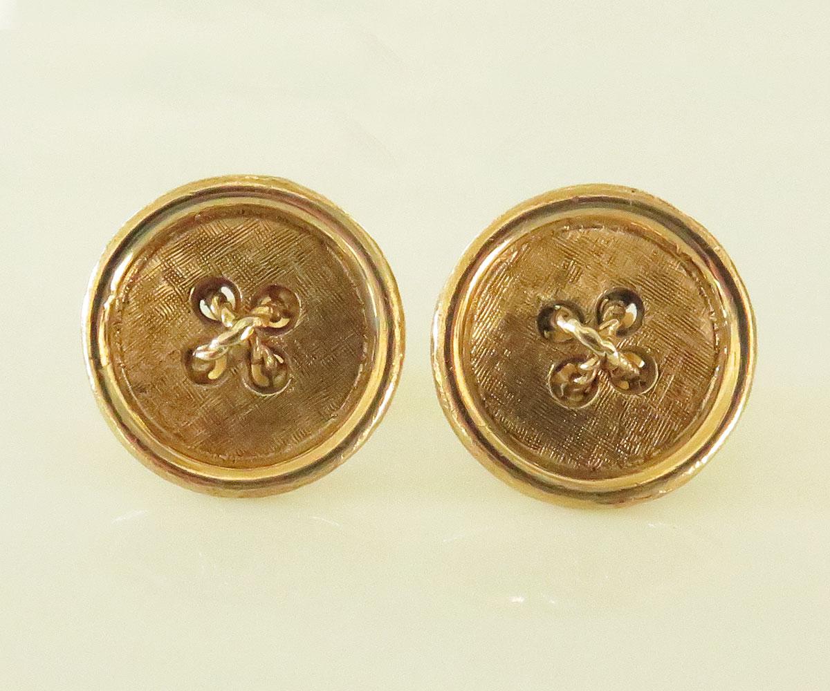 Gold Button Earrings