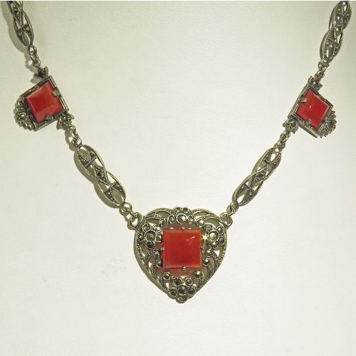 Sterling Marcasite and Carnelian Heart Necklace