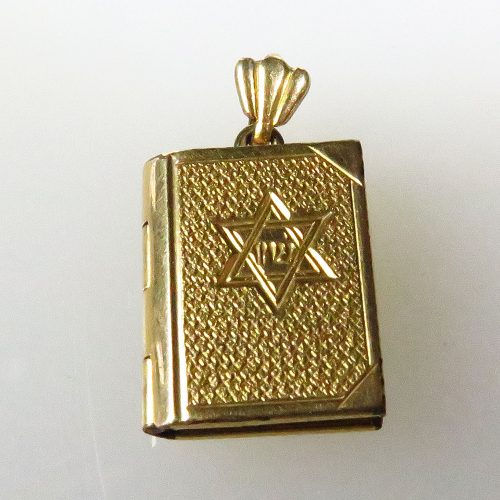 Book Charm with Jewish Star + 10 Commandments