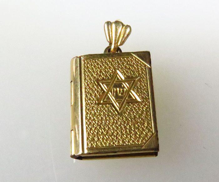 Book Charm with Jewish Star + 10 Commandments