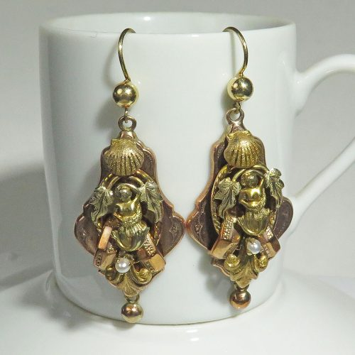 Victorian Gold Mermaid Earrings