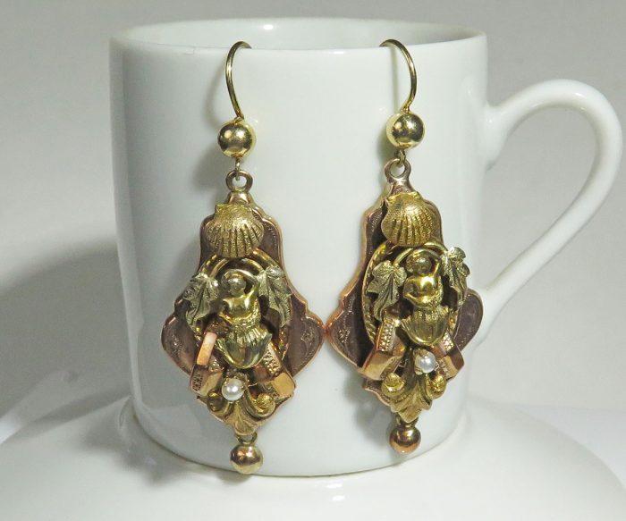 Victorian Gold Mermaid Earrings