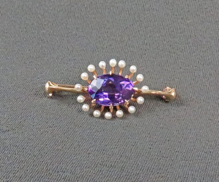 Gold Amethyst and Pearl Brooch