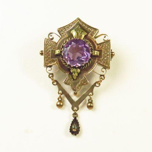 Victorian Gold Amethyst Brooch