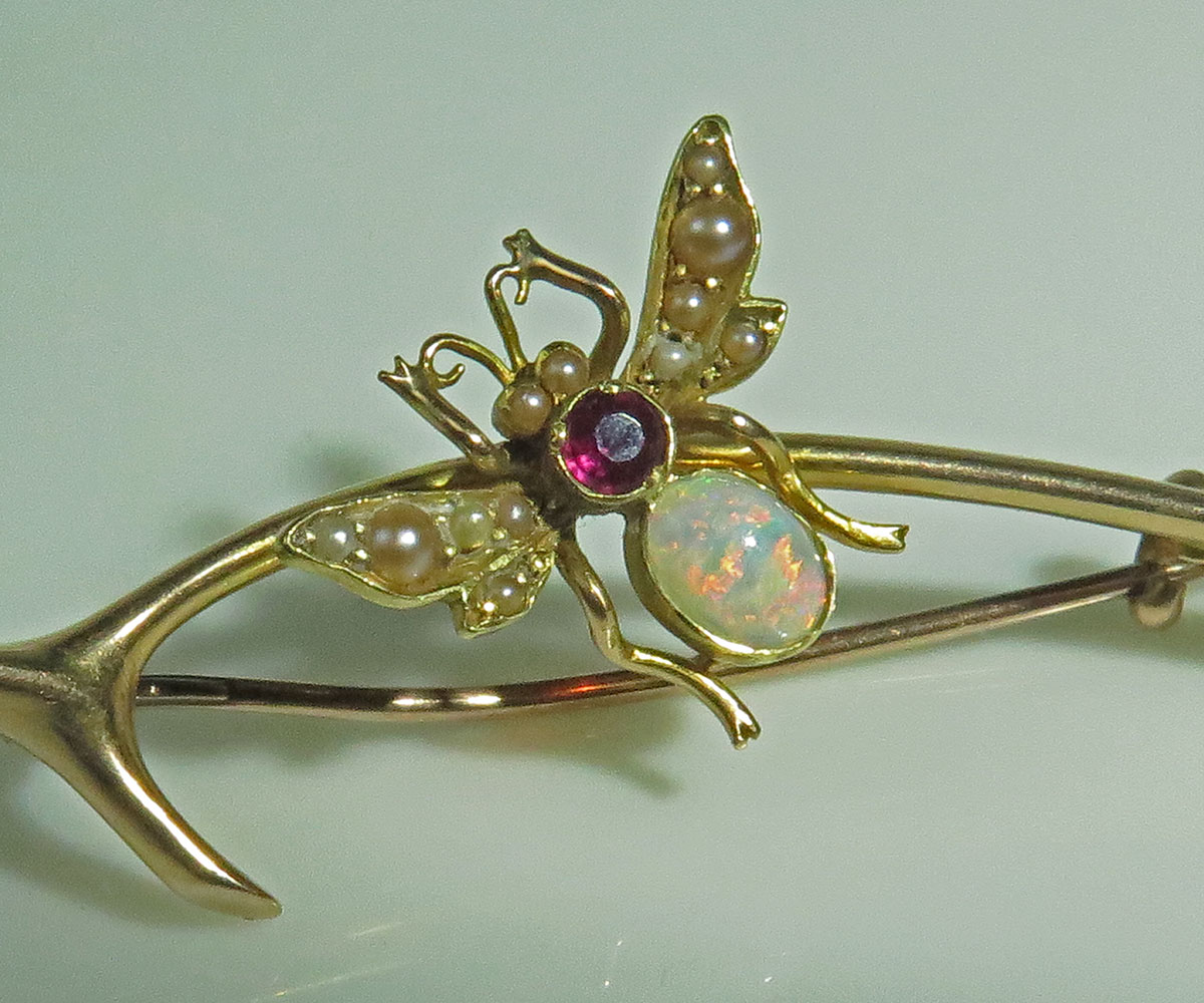 Gold Wishbone and Fly Brooch