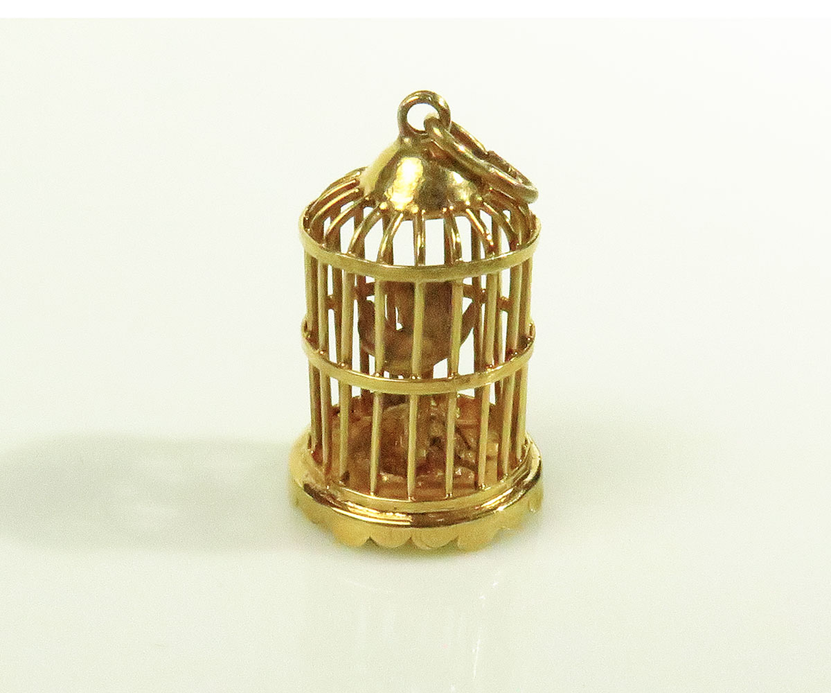 Gold Birdcage Charm