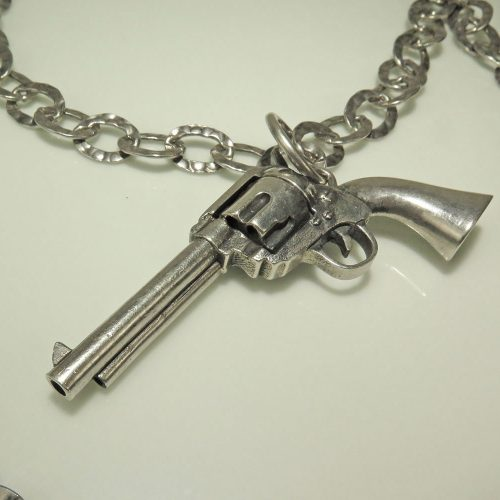 Silver Six Shooter Necklace