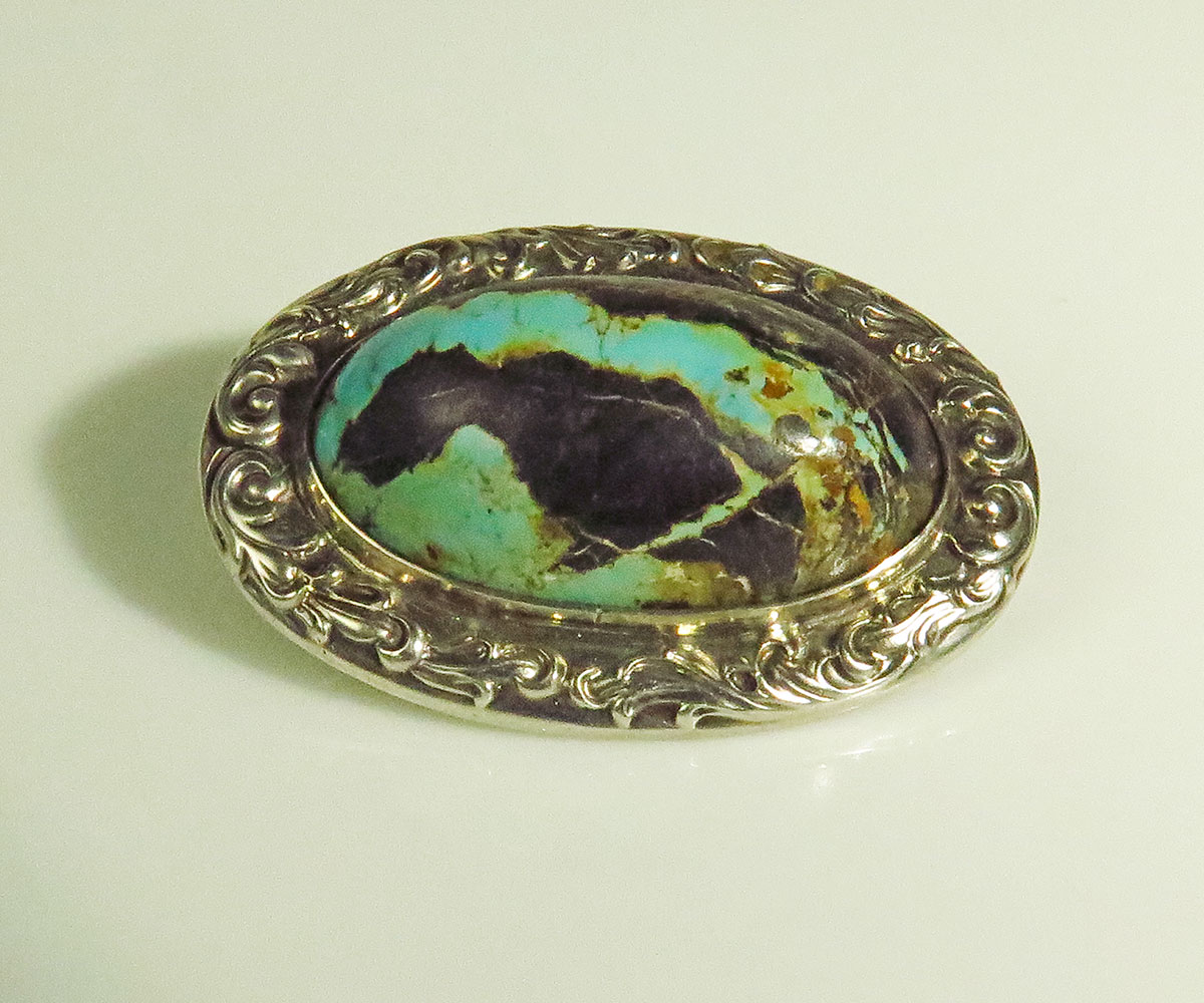 Victorian Silver Turquoise Brooch