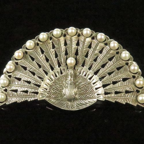 Silver Peacock Brooch