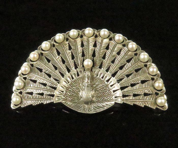 Silver Peacock Brooch