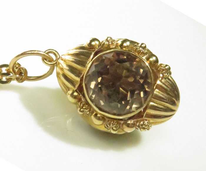 Etruscan Revival Style Gold and Smoky Quartz Charm
