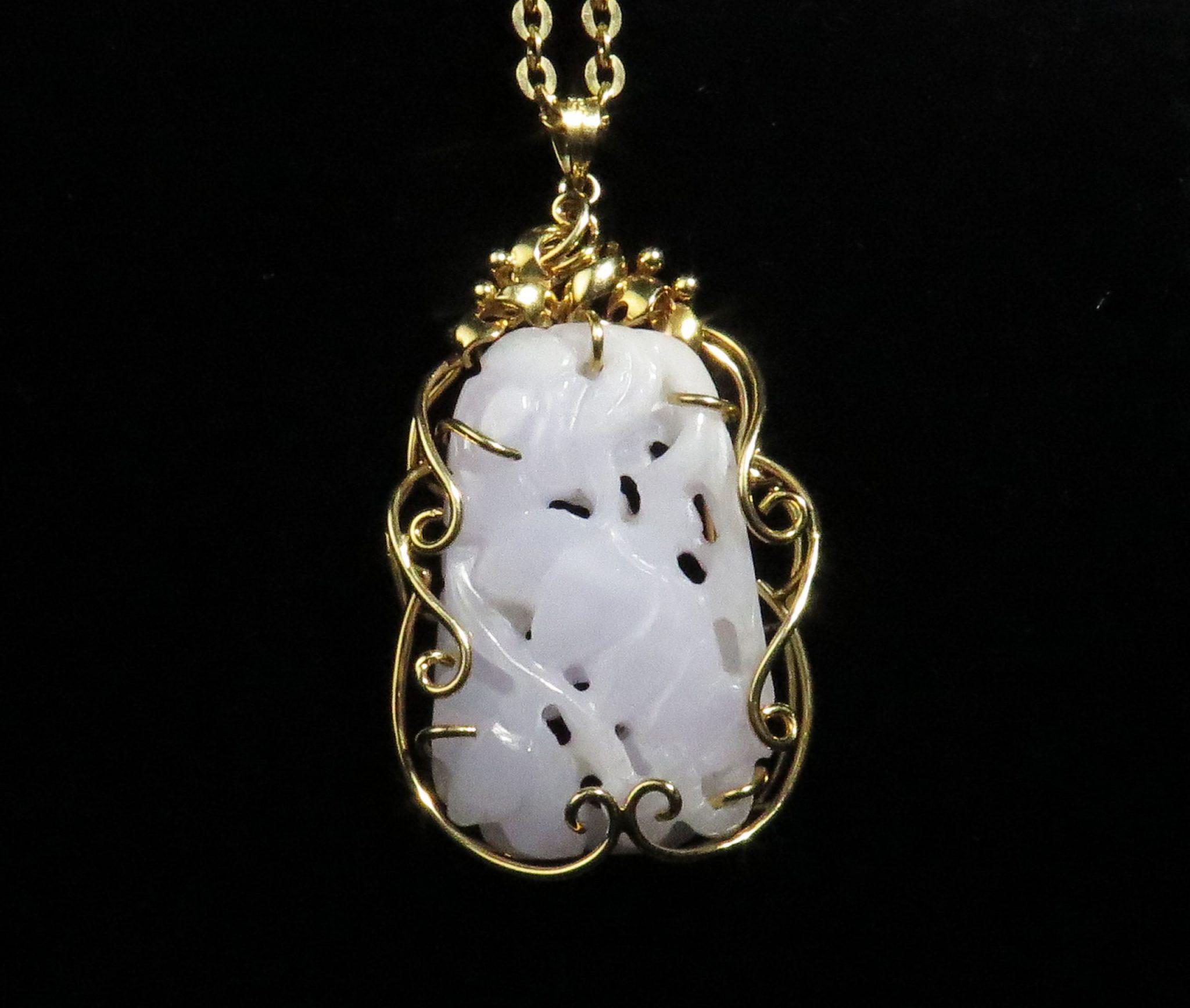 Gold Lavender Jadeite Pendant