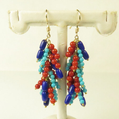 Gold Gemstone Bead Earrings