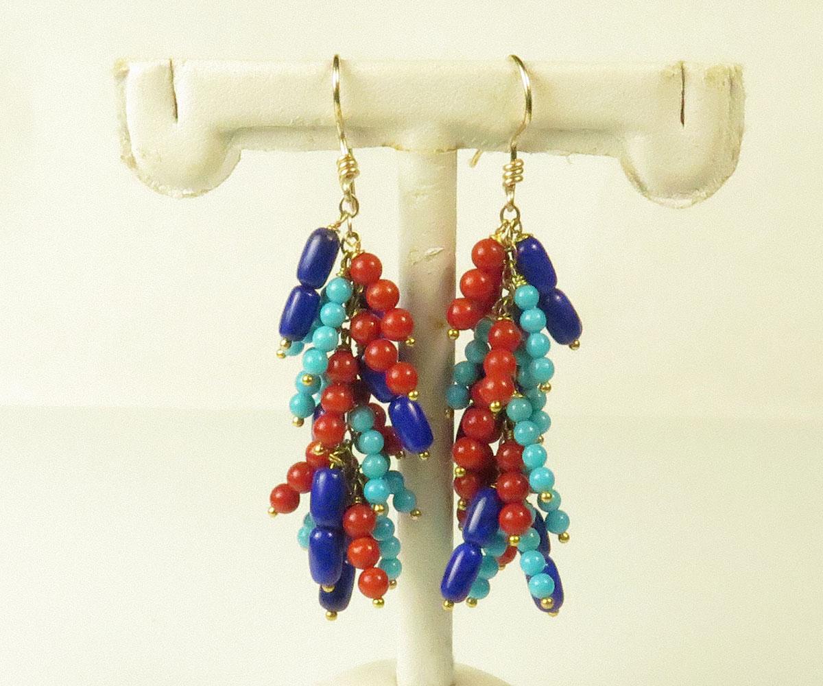 Gold Gemstone Bead Earrings