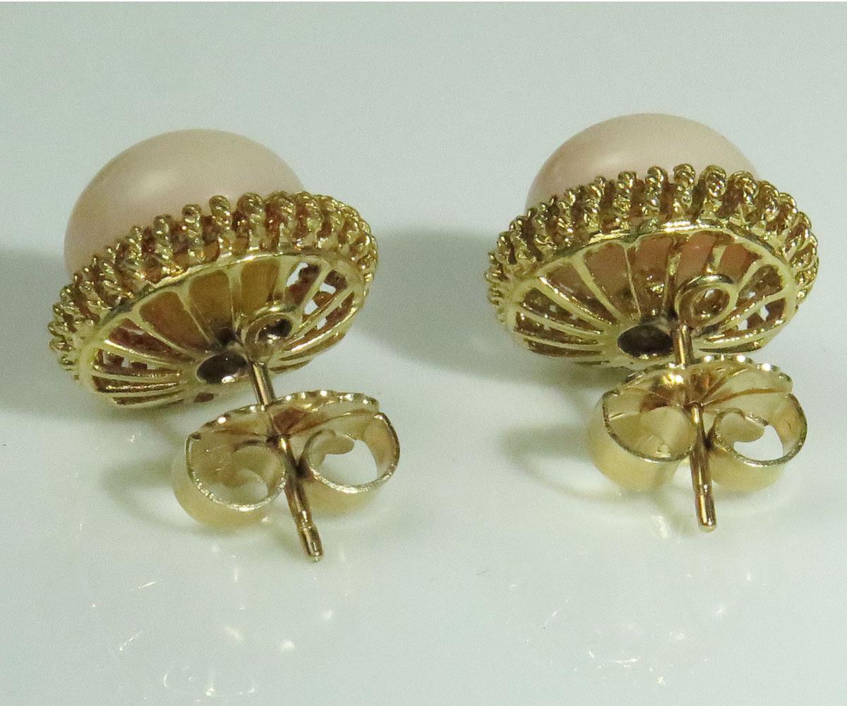 Gold Angelskin Coral Earrings
