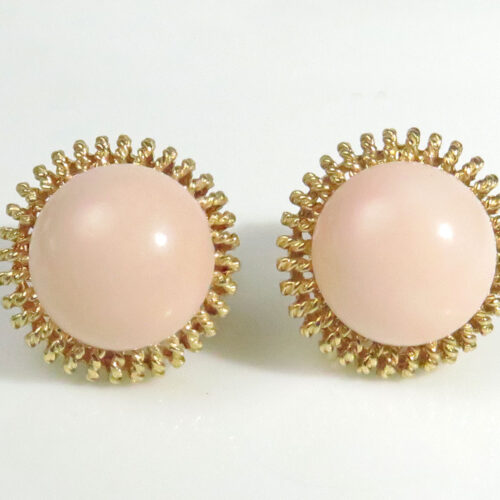 Gold Angelskin Coral Earrings