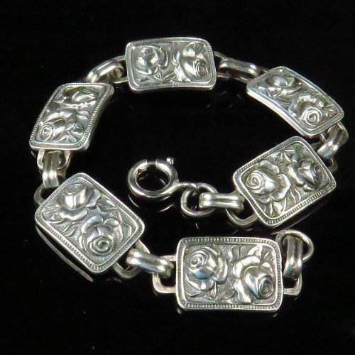 Sterling Bracelet with Rose Panel Links
