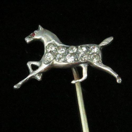 Sterling Horse and Rhinestone Stickpin