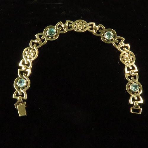 Sterling and 14K Symmetalic Blue Zircon Bracelet
