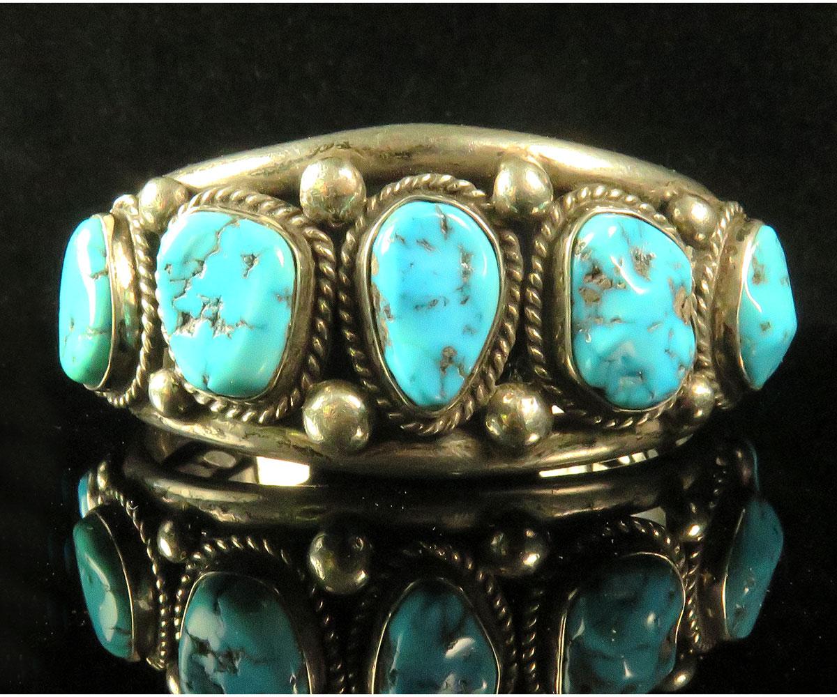 Silver Native American Turquoise Cuff