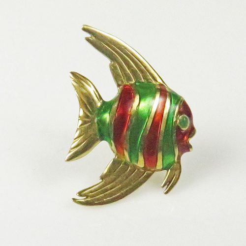 Gold and Enamel Angelfish Tie Tack