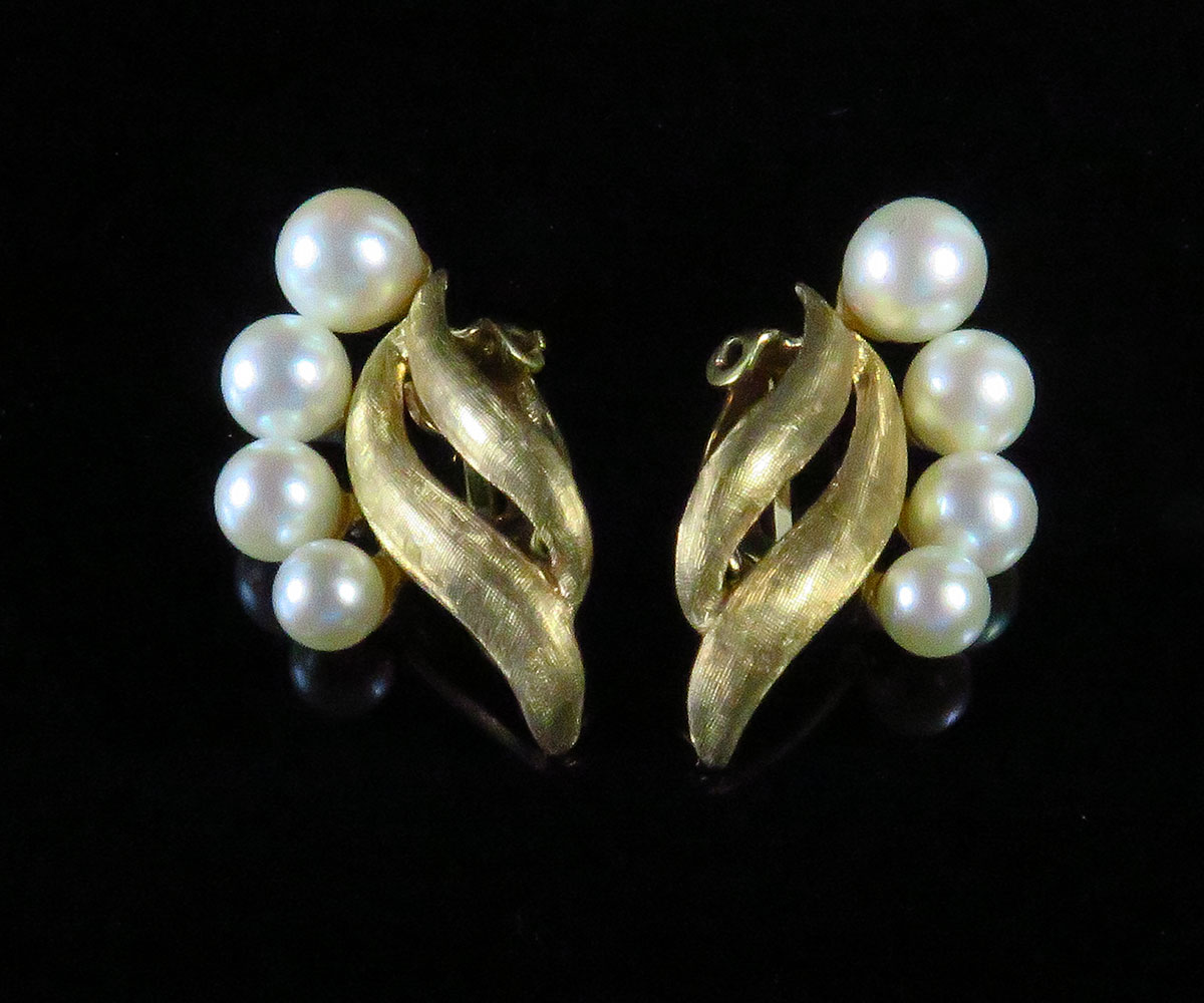Gold and Cultured Pearl Earrings