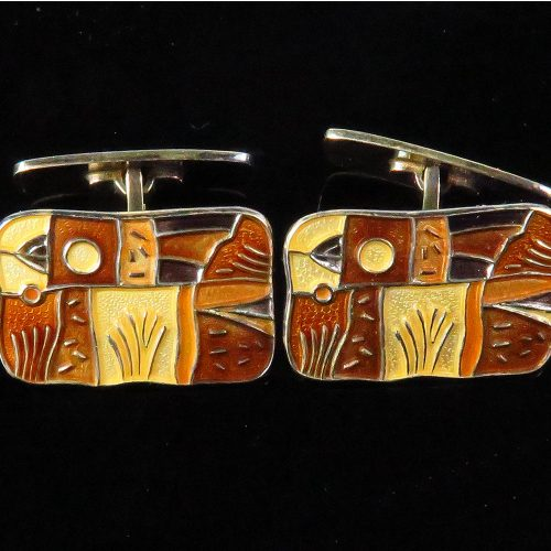 David Andersen Sterling and Enamel Cufflinks