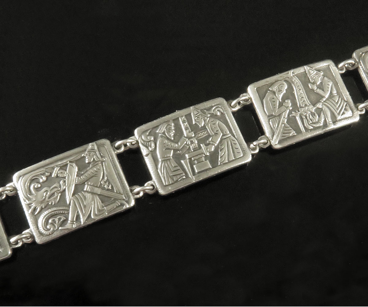 Silver St. George and the Dragon Norwegian Bracelet
