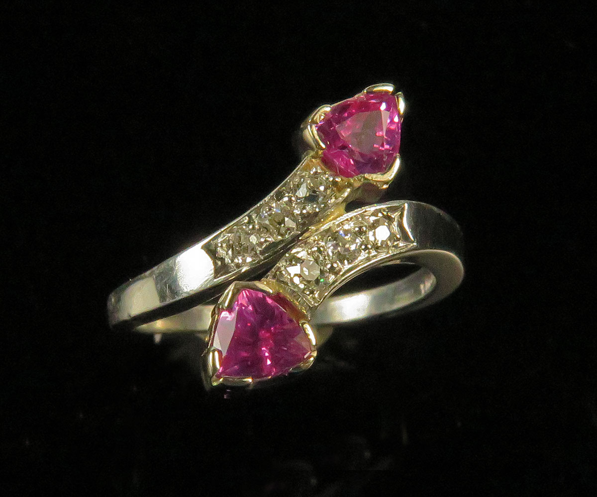 Platinum Ring with Pink Sapphires and Diamonds