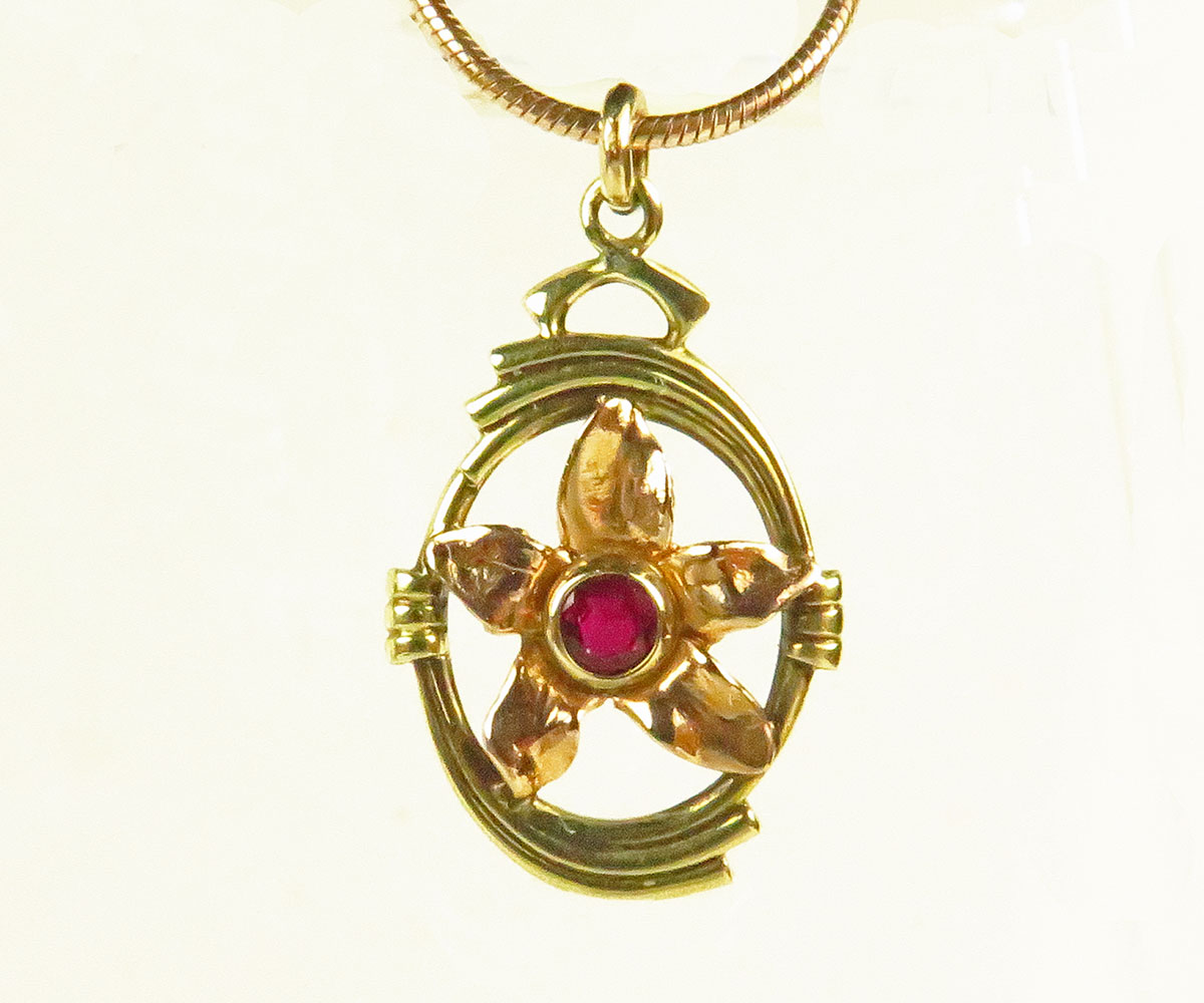 Two Tone Gold Ruby Flower Pendant