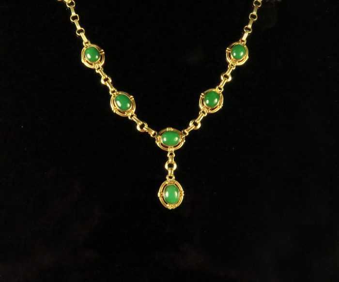 1940's Rose Gold Green Onyx Necklace