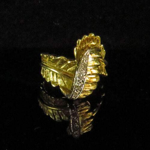Gold Fern Leaf and Diamond Ring