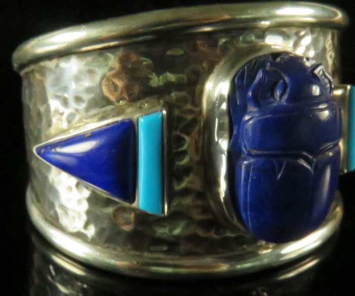 Sterling Custom Cuff With Lapis Scarab and Morenci Turquoise