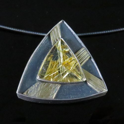 Gold and Silver Star Rutilated Quartz Pendant by Max
