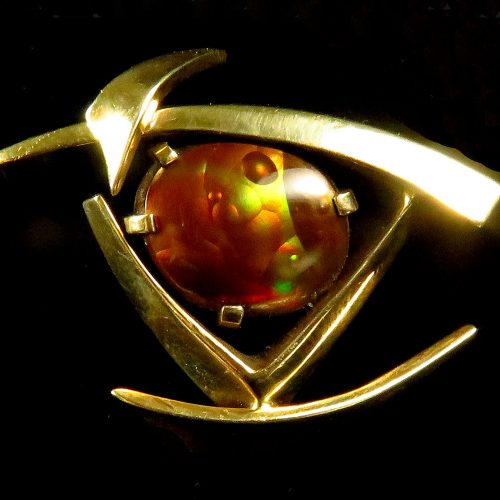 Gold Fire Agate Brooch