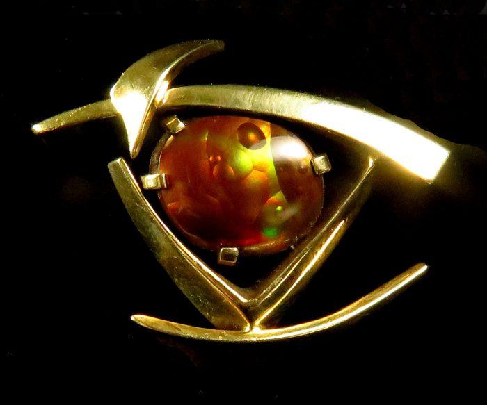 Gold Fire Agate Brooch