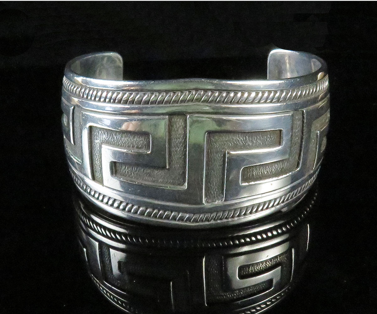Sterling Native American Geometric Cuff