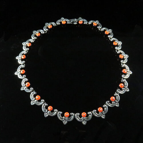 Sterling and Coral Glass Necklace by Los Costillo