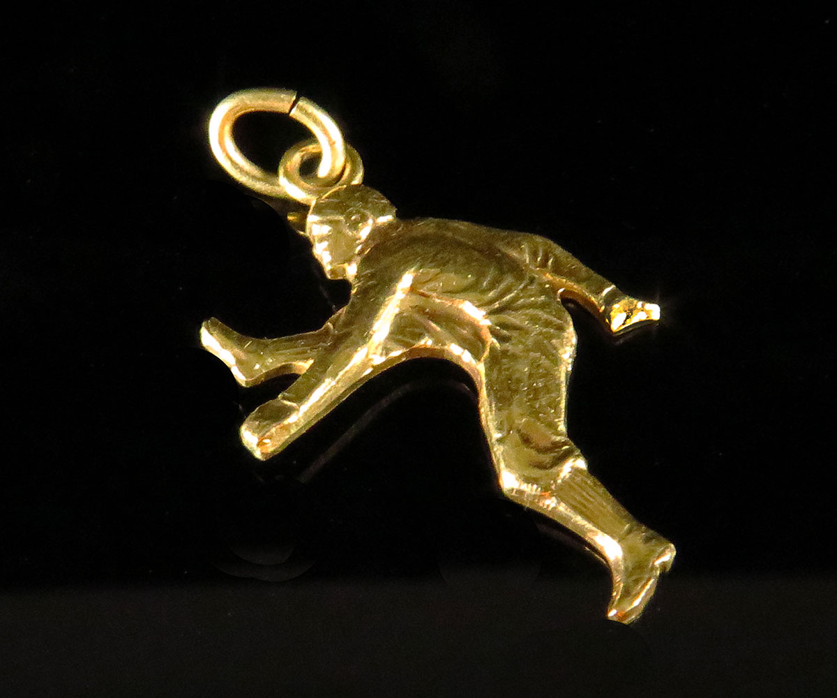 Gold Football Player Charm